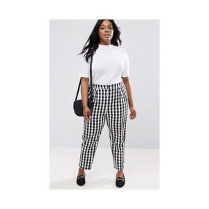 ASOS Gingham tapered Plaid Ankle Pants NWT 14